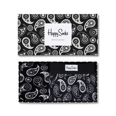Dárková krabička Happy Socks Black and White, vzor Paisley, pánská