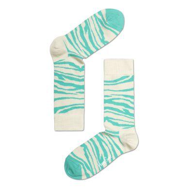 Tyrkysovo-krémové ponožky Happy Socks so vzorom Zebra
