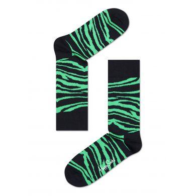 Černo-zelené ponožky Happy Socks se vzorem Zebra