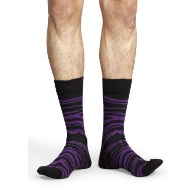 Fialovo-černé ponožky Happy Socks se vzorem Zebra