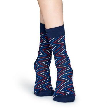 Modré ponožky s farebným zubatým vzorom Ziggy