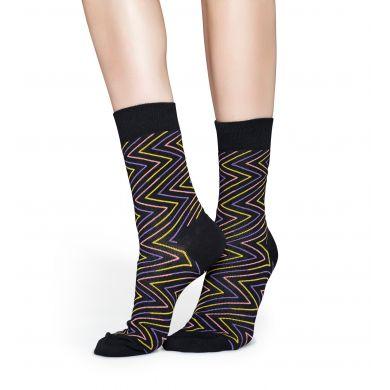 Čierne ponožky s farebným zubatým vzorom Ziggy