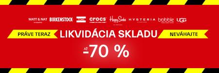 Likvidácia skladu - zľavy až 70 %